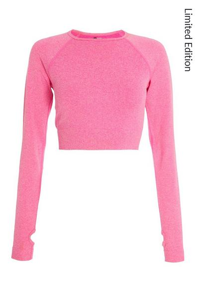 Pink Seamless Long Sleeve Crop Top